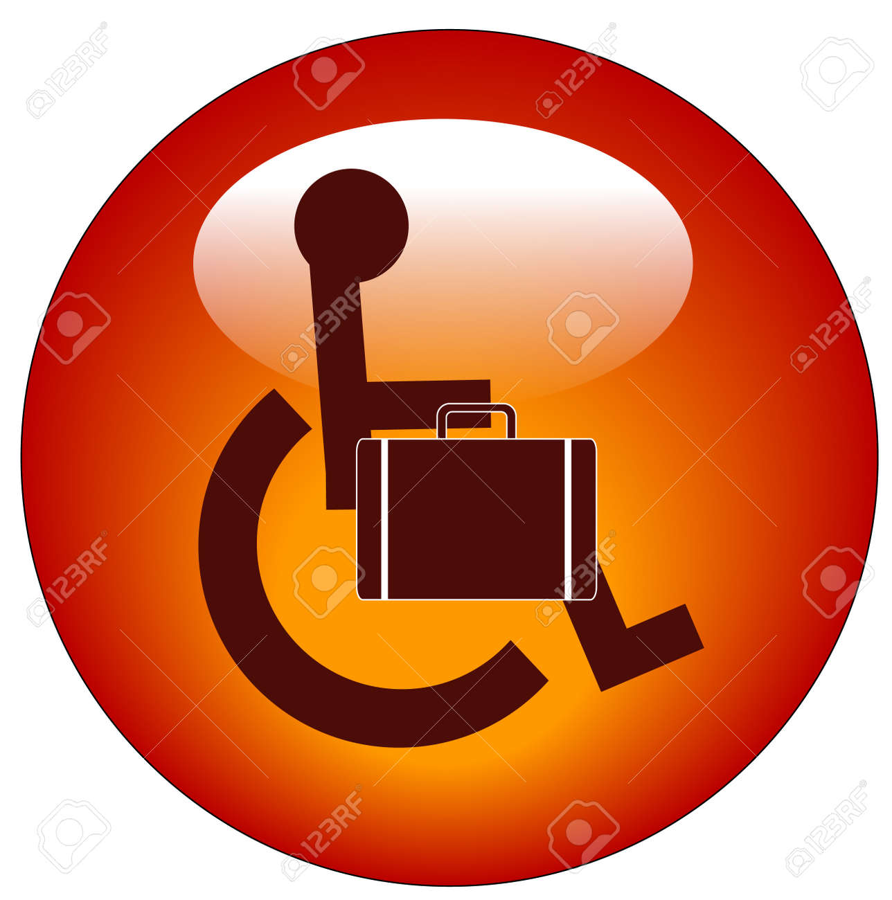 web button for handicap person in wheelchair carrying briefcase Stock Vector - 3263147