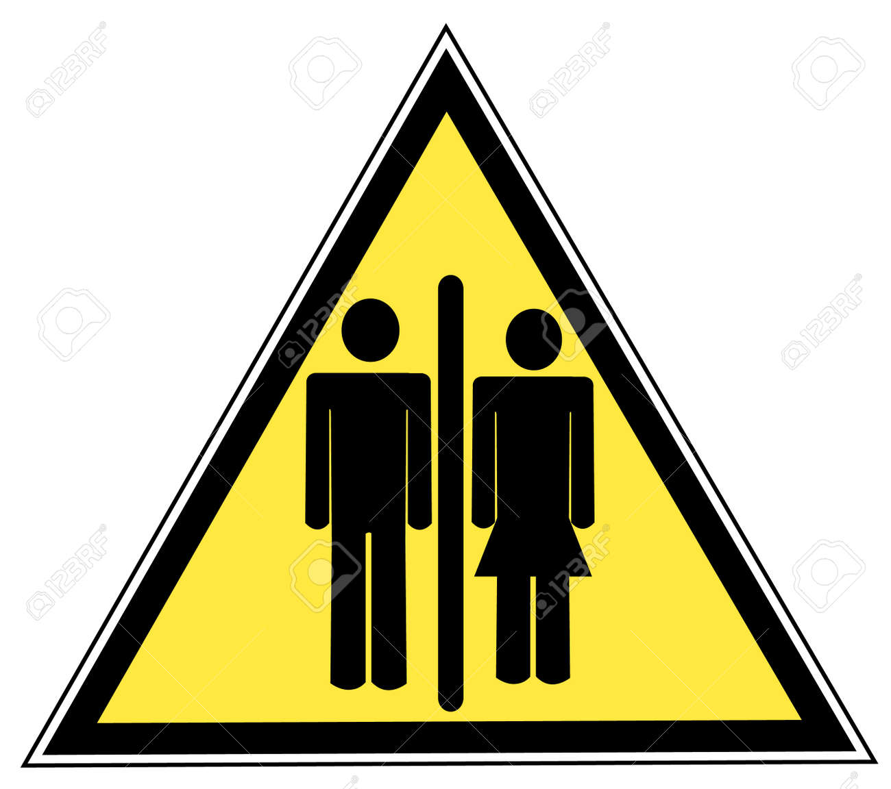 Red Stick Figure Man And Woman Or Couple On Yellow Sign Royalty Free
