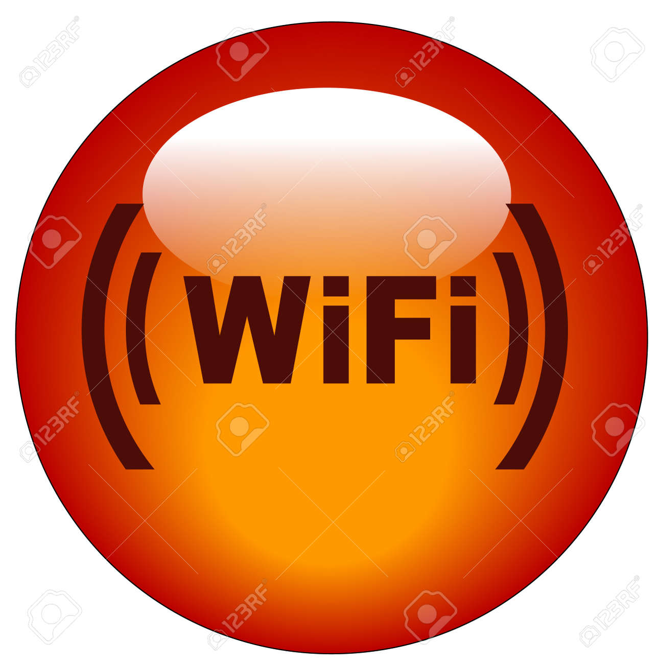red wifi web button or icon - illustration Stock Vector - 3282474