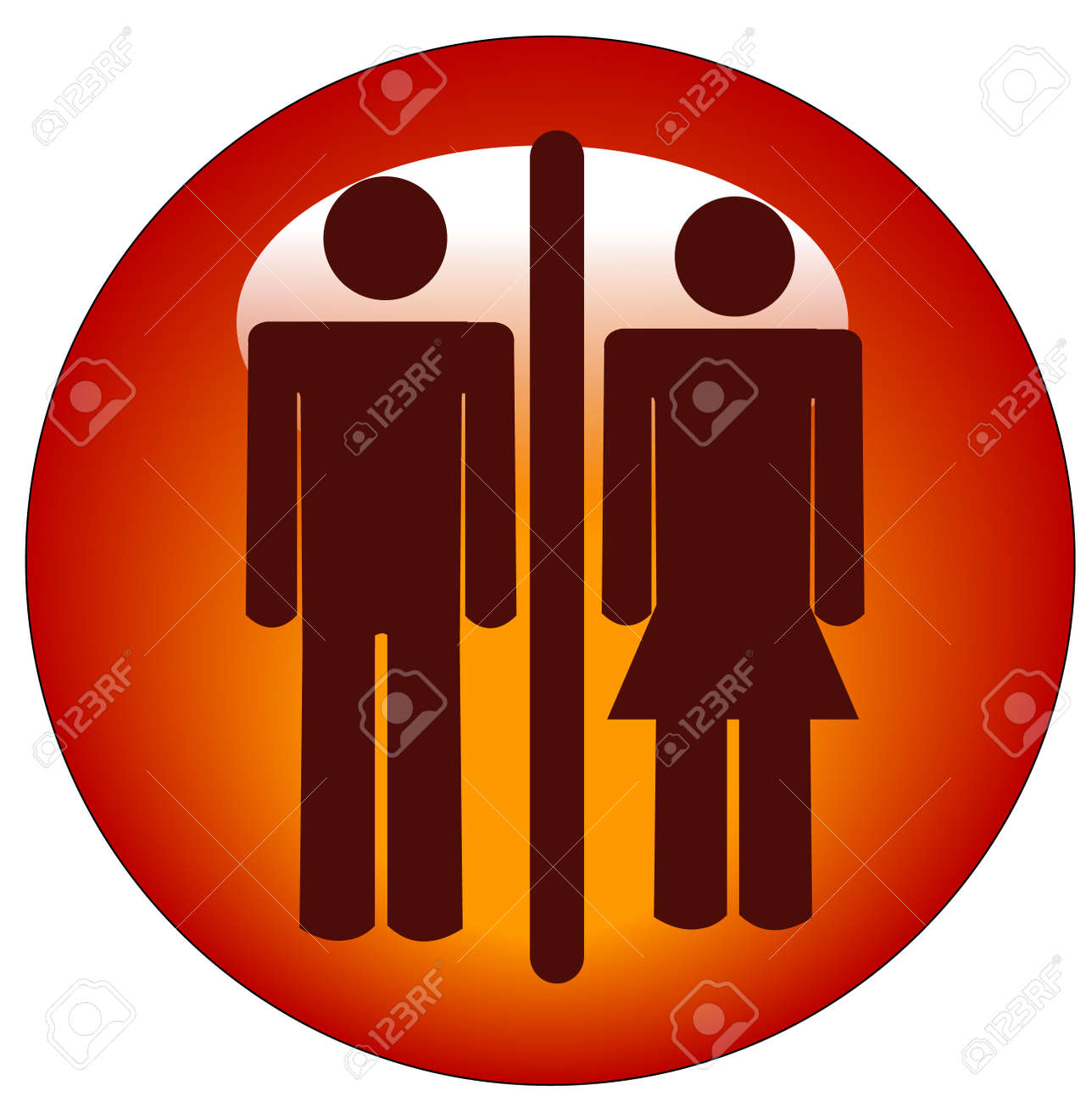 red stick figure man and woman or couple on round button or icon Stock Vector - 3296239