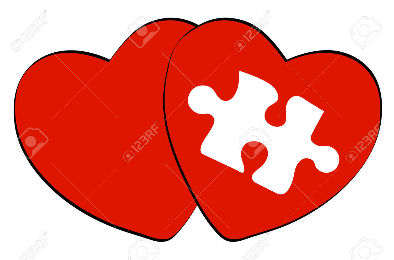 two red hearts one with white puzzle shape Stock Vector - 3322332