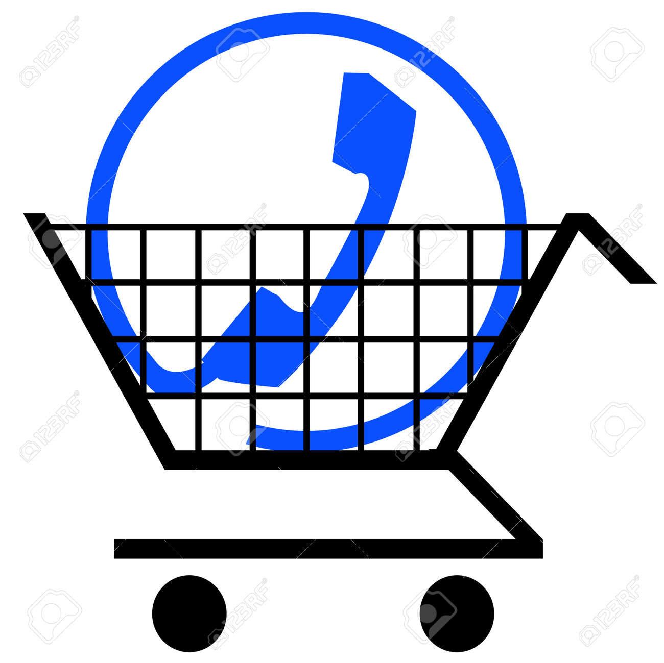 shopping cart with phone connection symbol Stock Vector - 3330247
