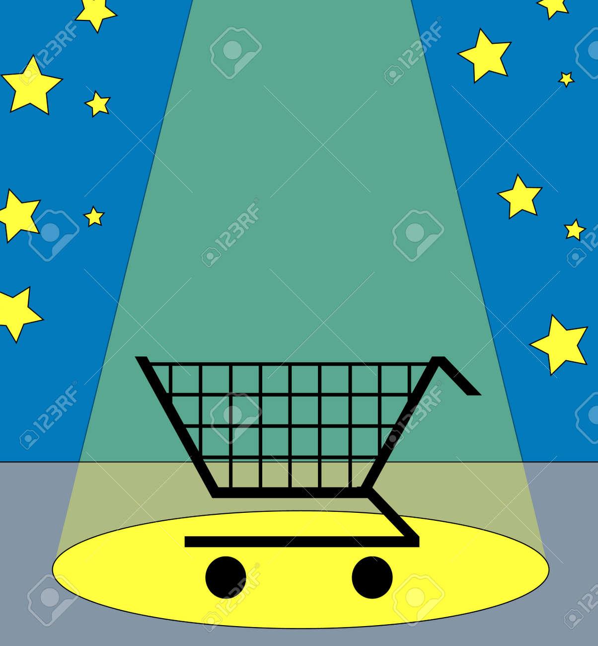 illustration of a shopping cart under the spotlight Stock Vector - 3346680