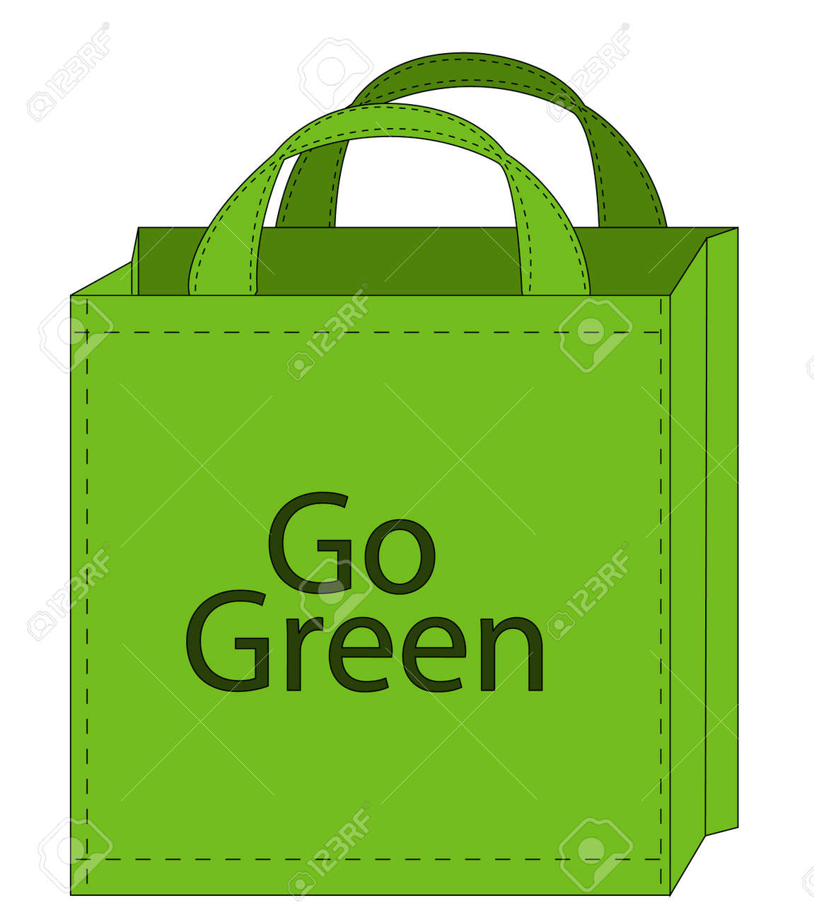 Illustration Of A Reusable Shopping Bag Encouraging Green Shopping ...