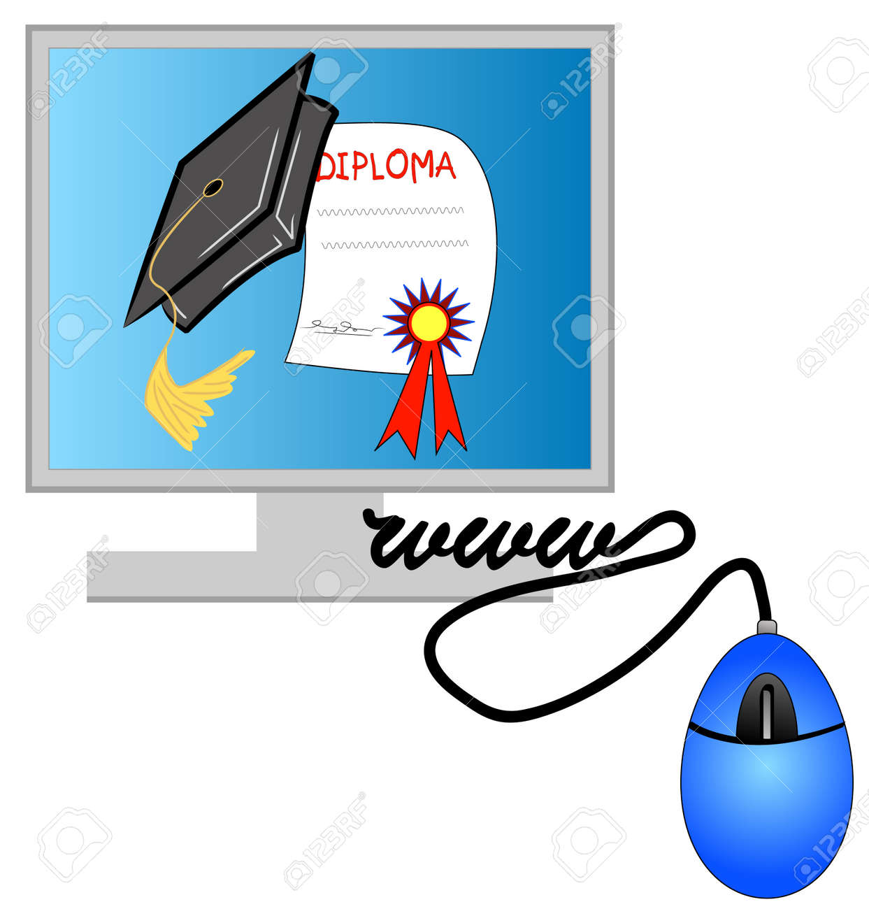 computer internet diploma and graduation cap online studies  computer internet diploma and graduation cap online studies stock vector 3367769