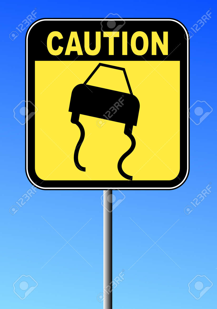 black and yellow caution sign against blue sky - road slippery Stock Vector - 3377495