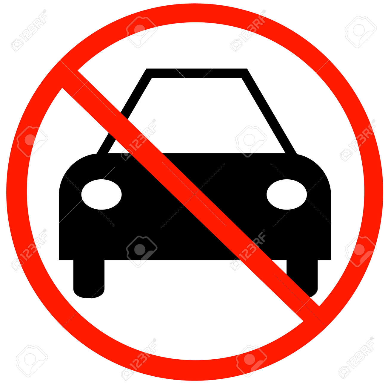 car with not allowed symbol - no cars allowed Stock Vector - 3410303