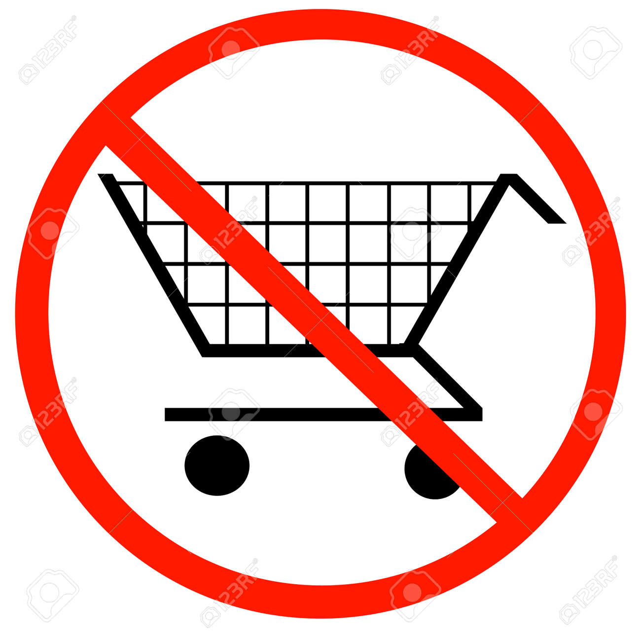 shopping cart with not allowed symbol - no shopping carts allowed Stock Vector - 3410313