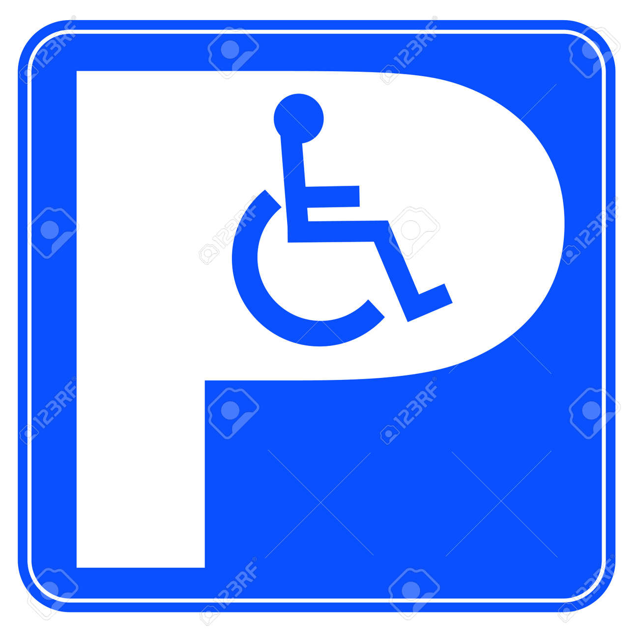 Blue Handicap Parking Or Wheelchair Parking Space Sign Royalty ...