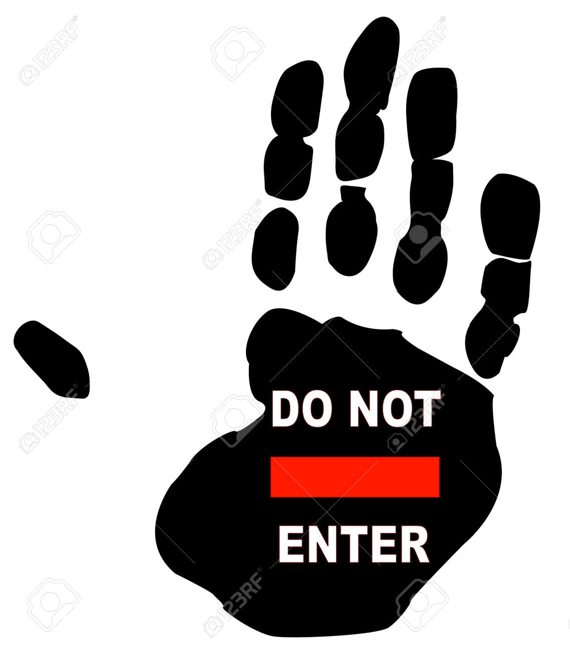 do not enter sign on the print of a persons hand Stock Vector - 3455757