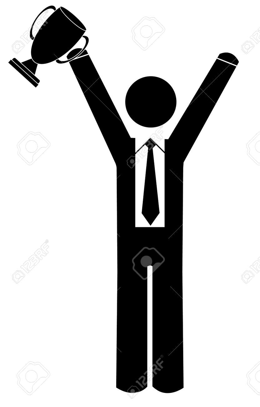 business man with arms up holding trophy Stock Vector - 3524109