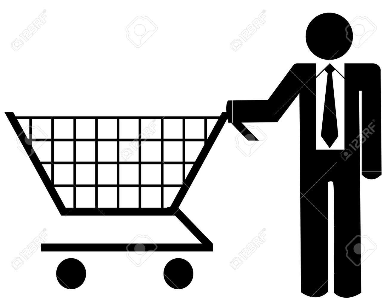 business man pushing shopping cart - illustration Stock Vector - 3589426