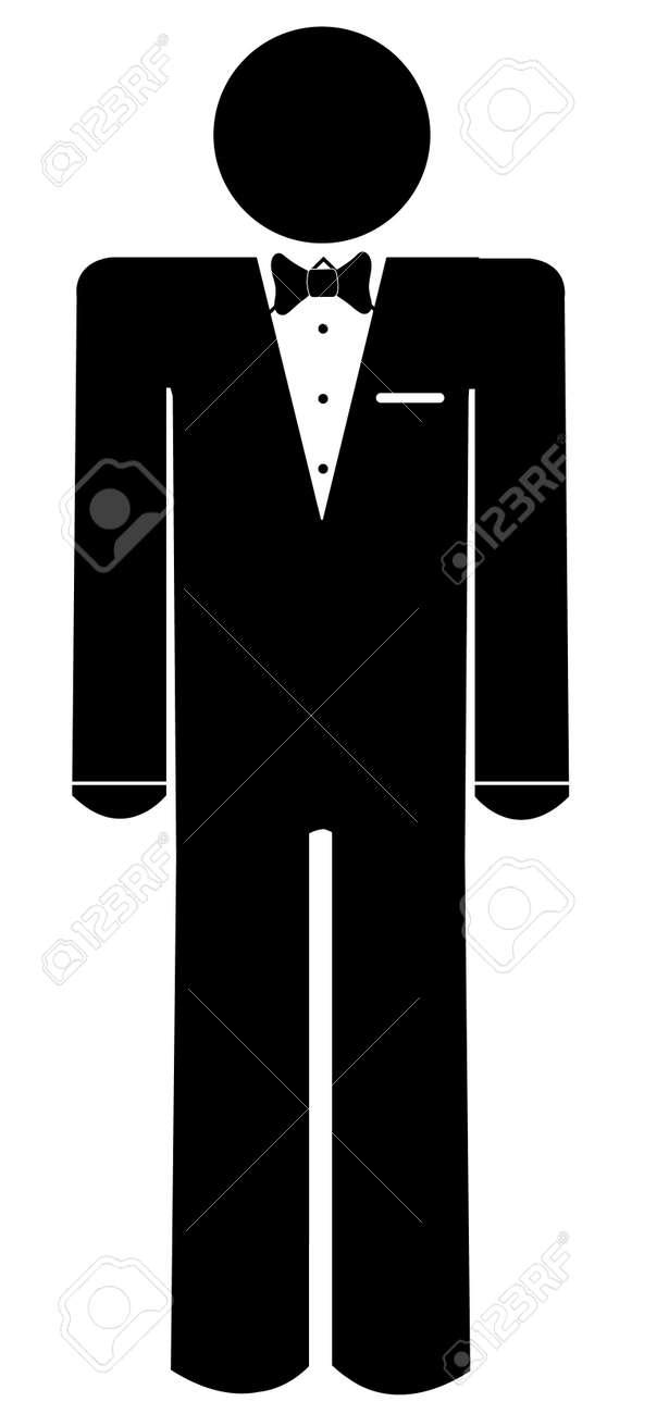 棒人間やイラストのタクシードを着て図 ロイヤリティフリークリップ