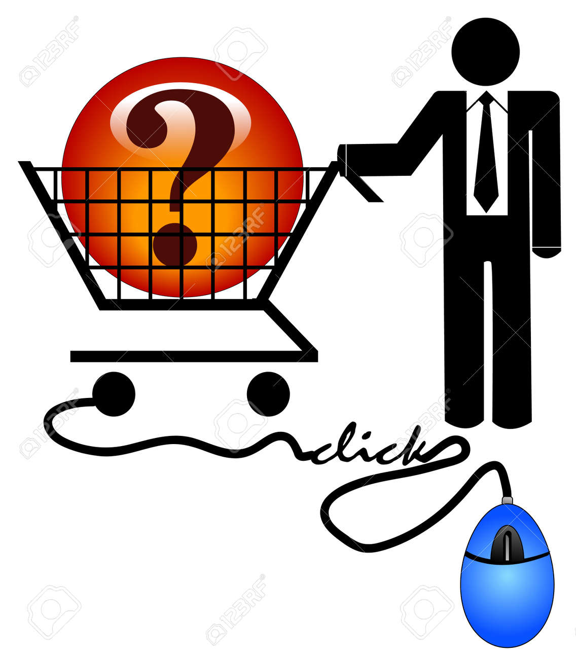 business man with shopping cart looking for solution on the internet Stock Vector - 3712295