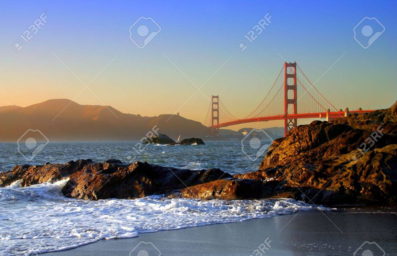 Baker Beach is a state and national public beach on the Pacific Ocean coast, on the San Francisco peninsula Stock Photo - 711642