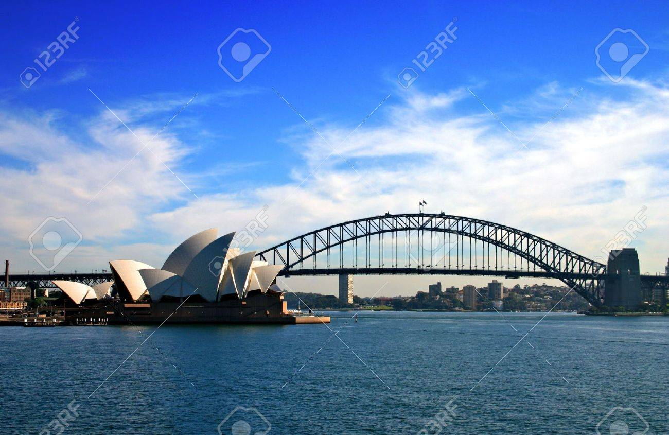 Sydney opera house and harbour bridge - A Water Vista Of The Sydney Harbour Bridge And Sydney Opera House Stock Photo 1132326