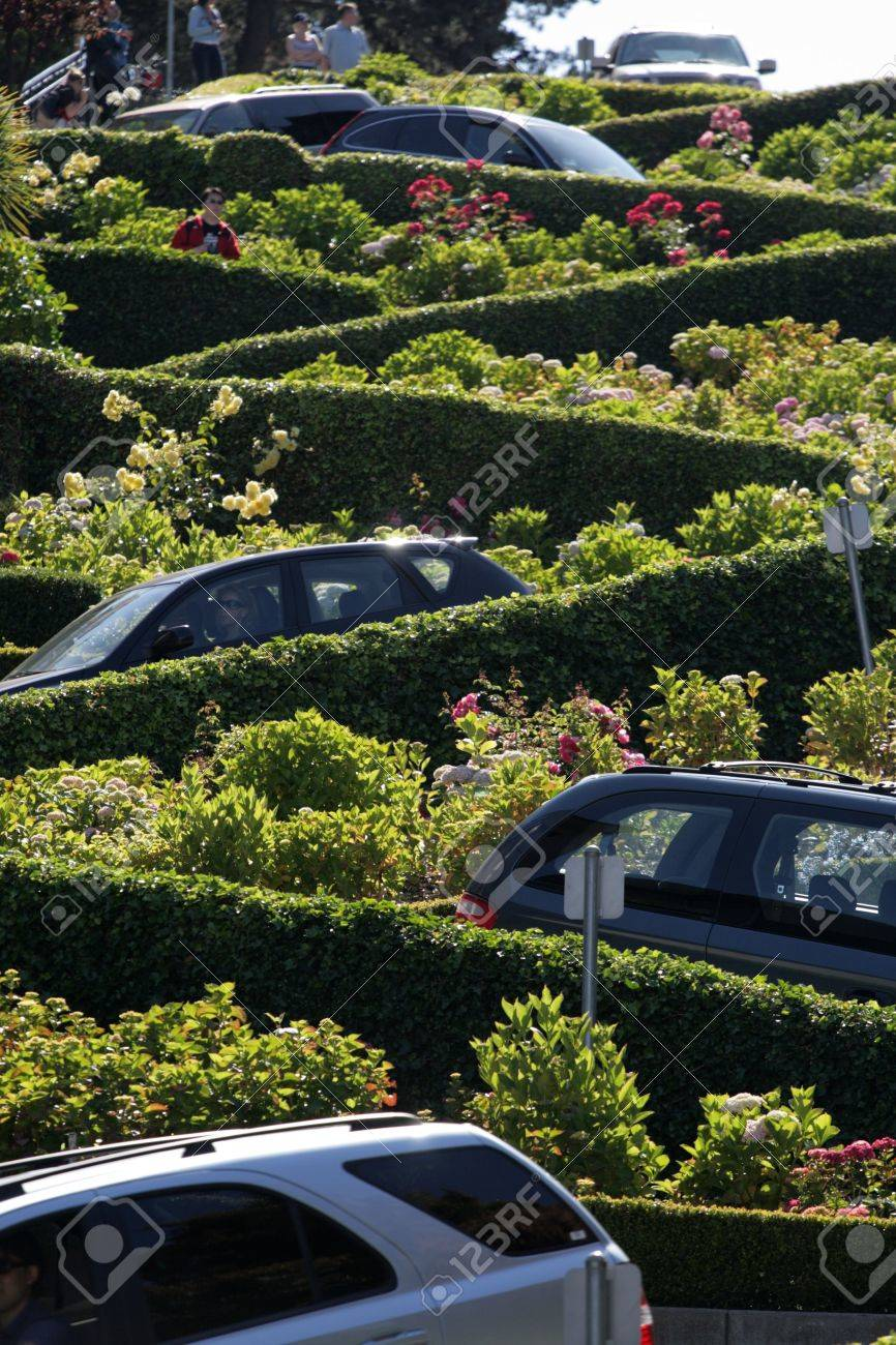 View of Lombard Street, the crookedest street in the world, San Francisco, California Stock Photo - 6153440