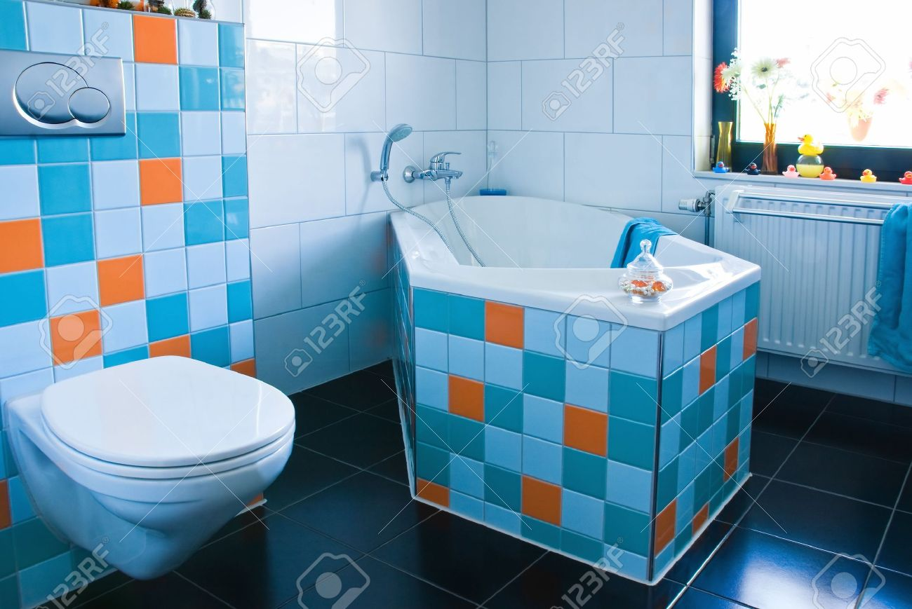 Blue black and white bathroom - White Bathroom Black Floor Colorful Decorated With Tiles In Light Blue Azure Blue