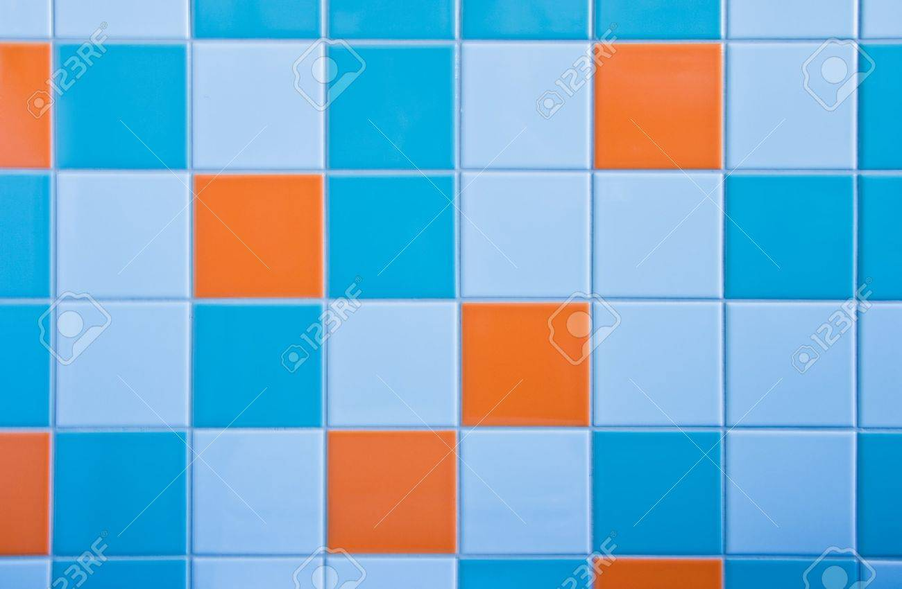 Light blue tiles bathroom - Part Of Wall In Bathroom With Tiles In Light Blue Azure Blue And Orange Stock