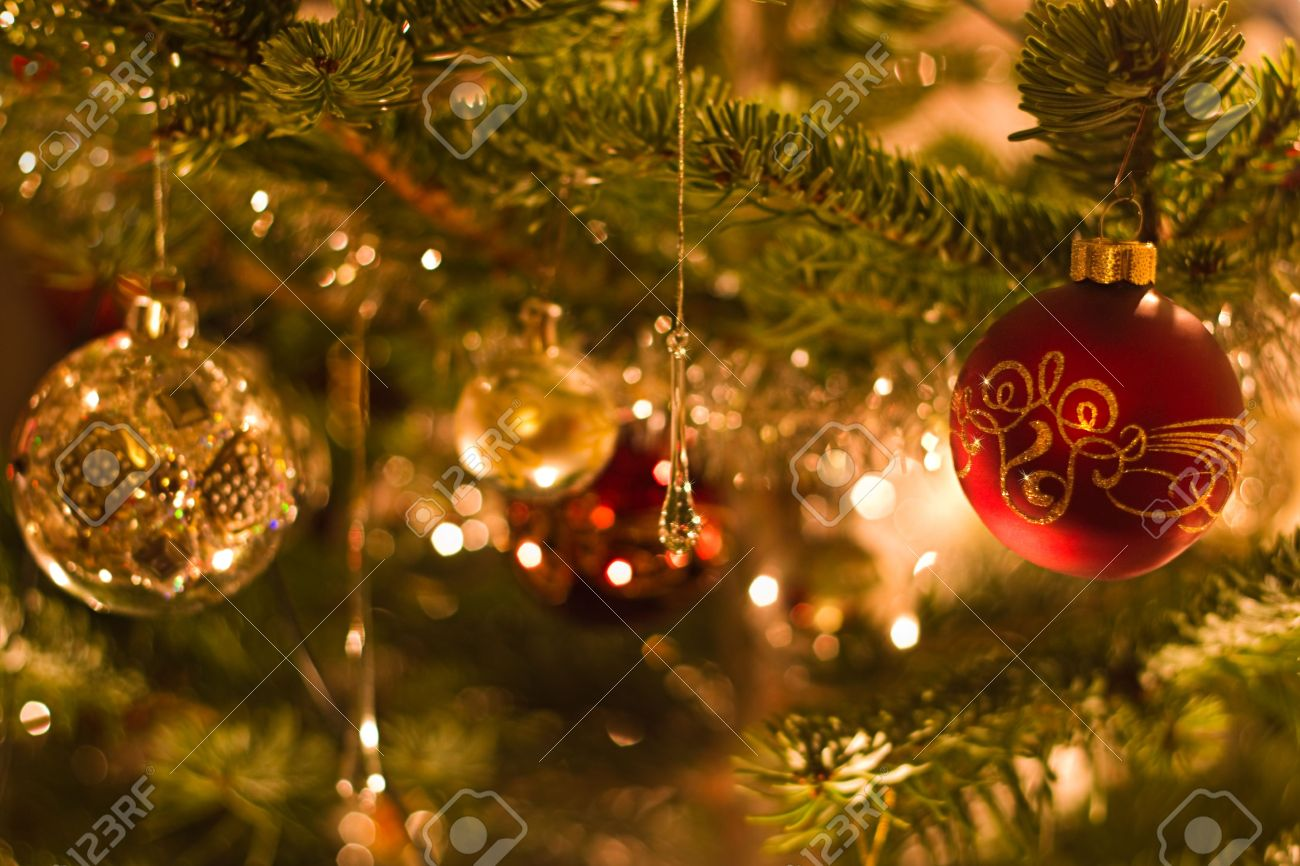 decoration in christmas tree with balls and lights red and silver shallow dof stock photo - Christmas Tree With Lights