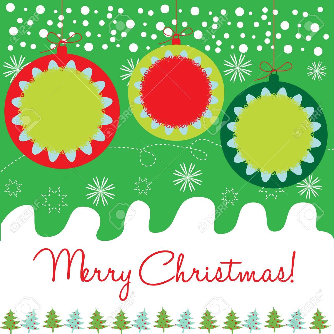 decorative christmas globes card Stock Vector - 10851863