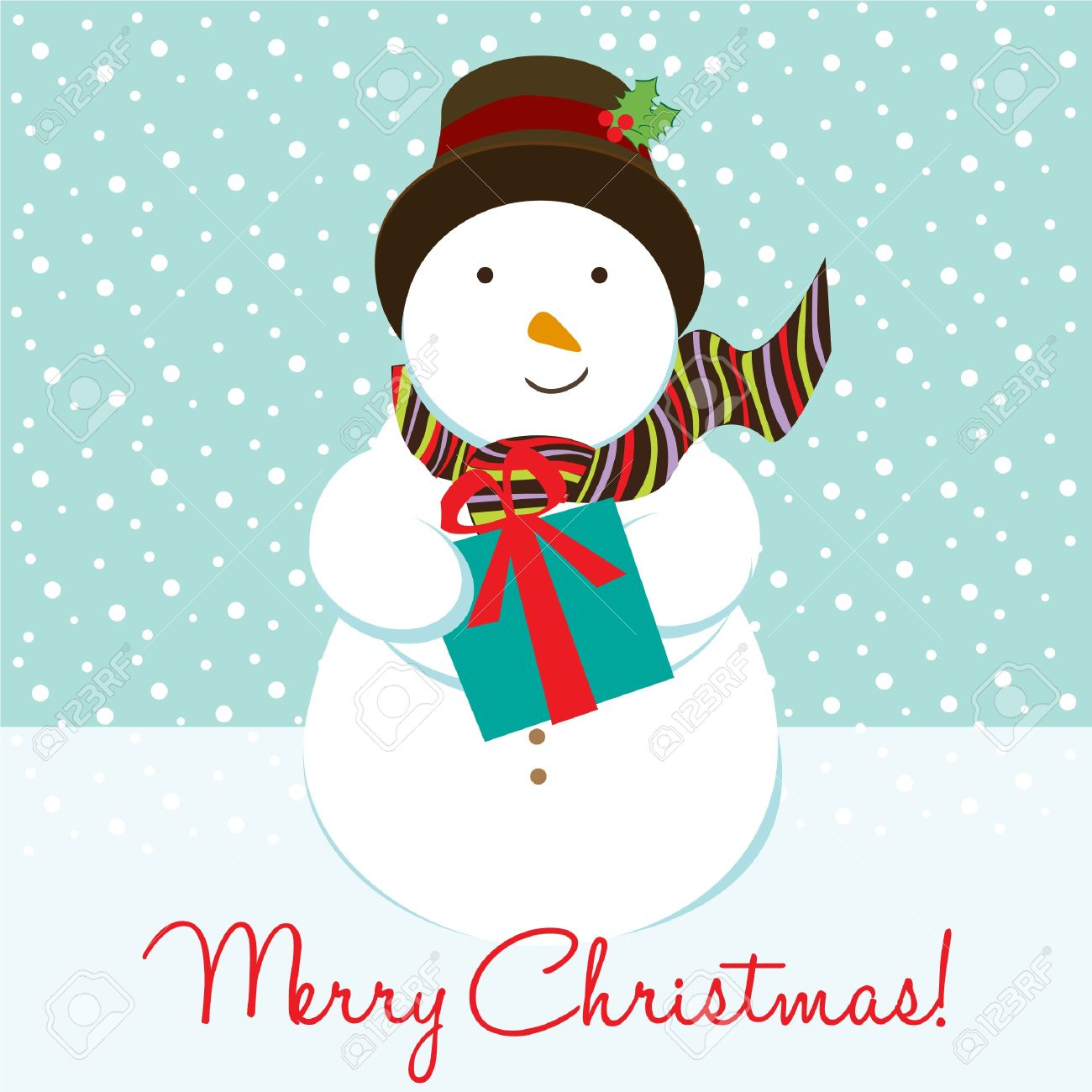 Snowman Christmas Card Royalty Free Cliparts, Vectors, And Stock ...