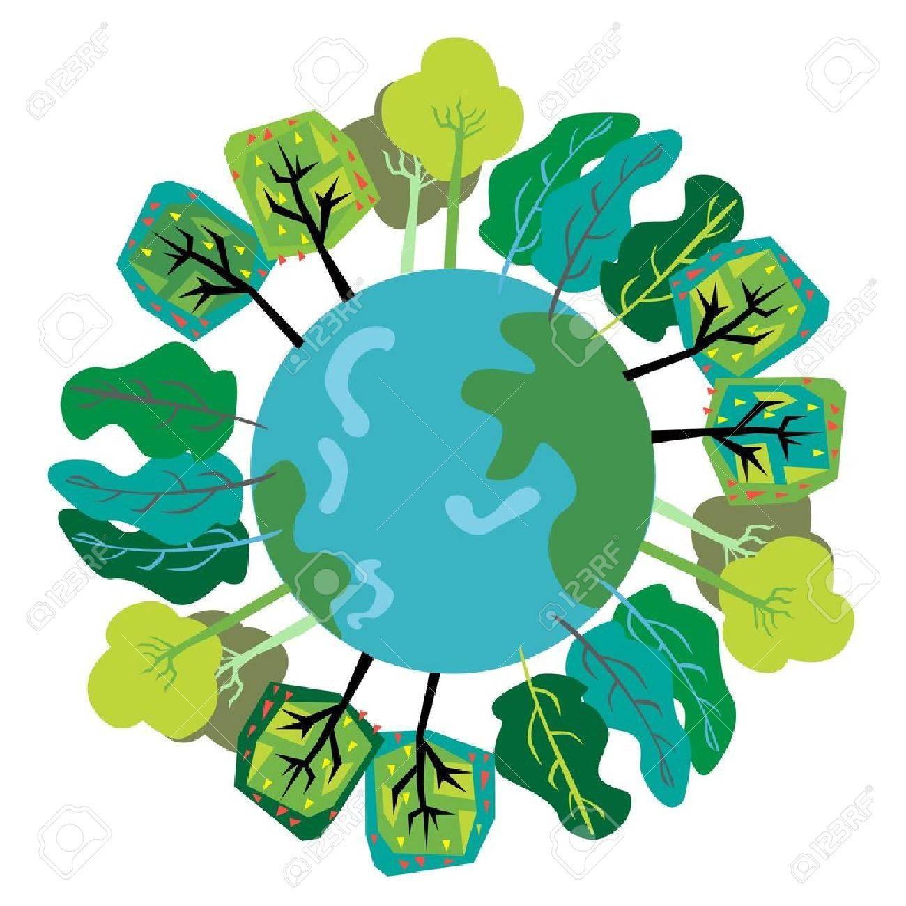 trees on environmental globe Stock Vector - 10851406