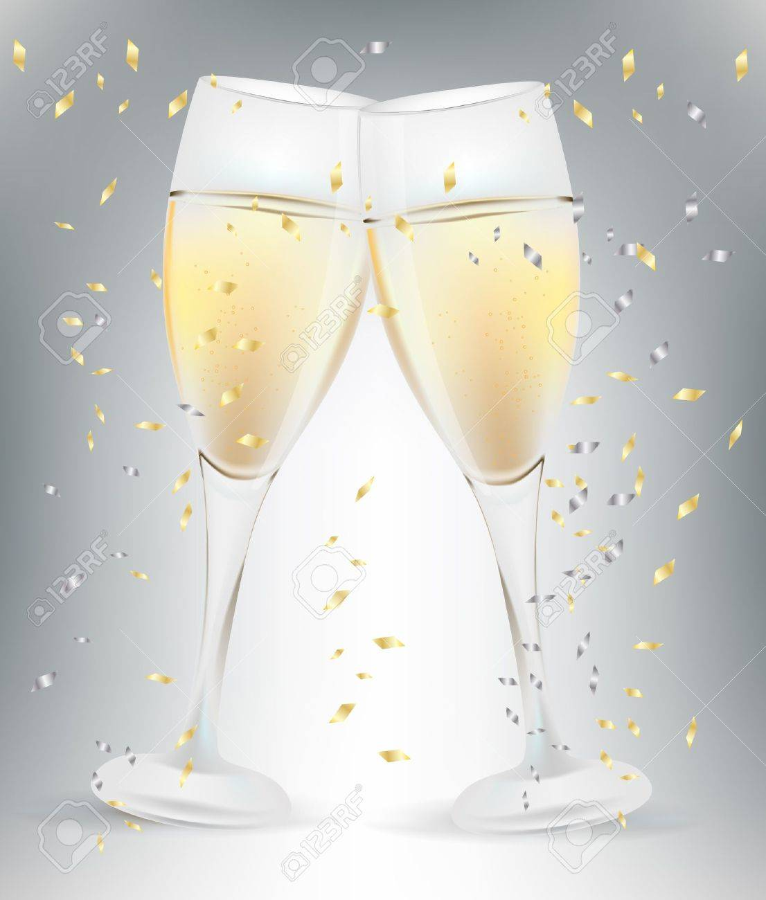 Two Celebration Champagne Glasses And Confetti Royalty Free
