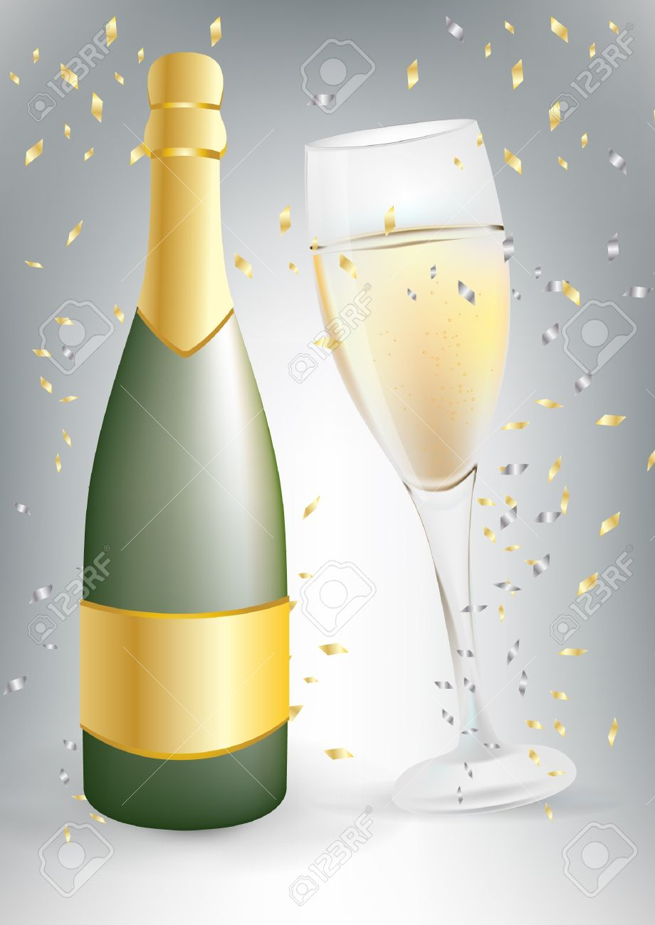 celebration champagne bottle and glass Stock Vector - 10851901