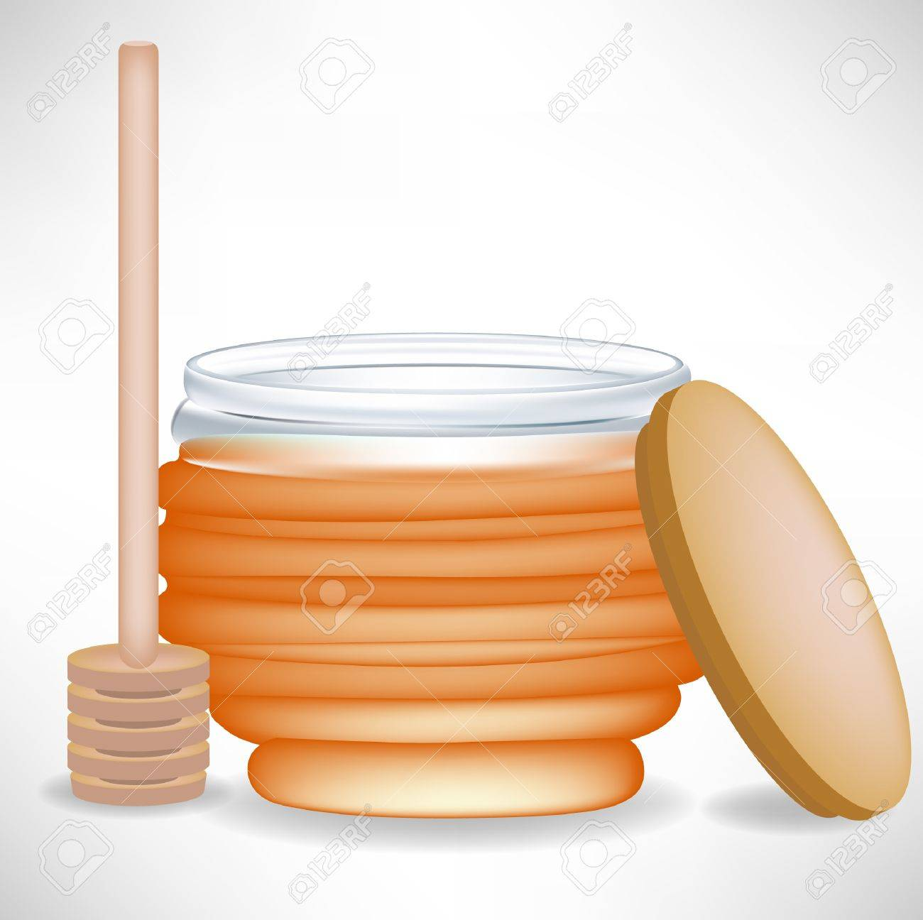 honey jar with wooden drizzle and cap Stock Vector - 10851854