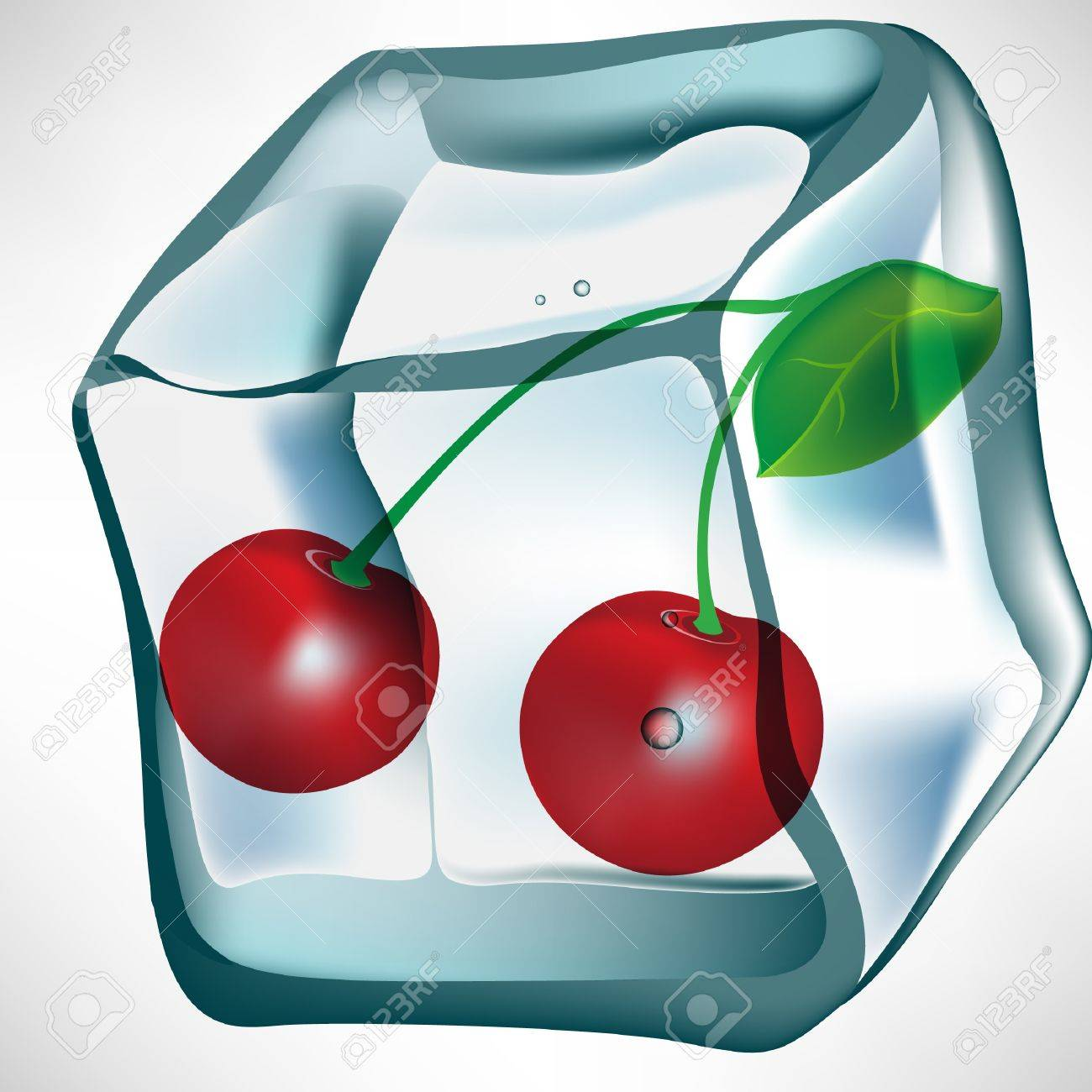 cherry in ice cube isolated Stock Vector - 10887039