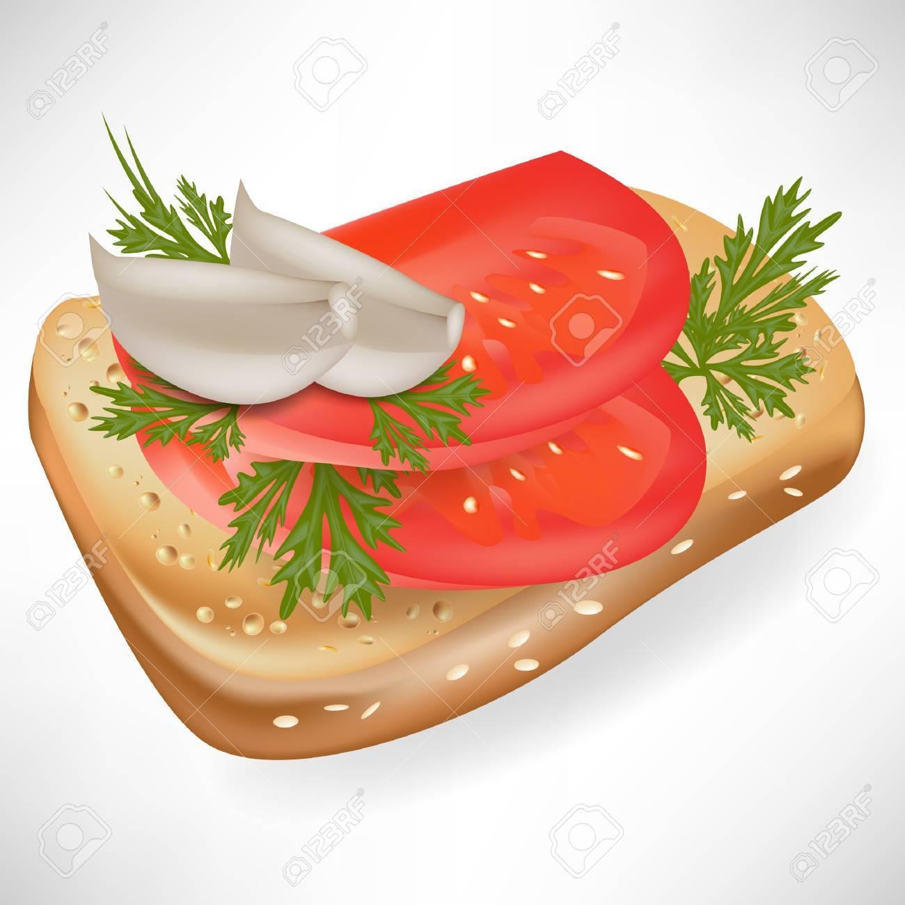 tomato and garlic on bread slice Stock Vector - 10888043