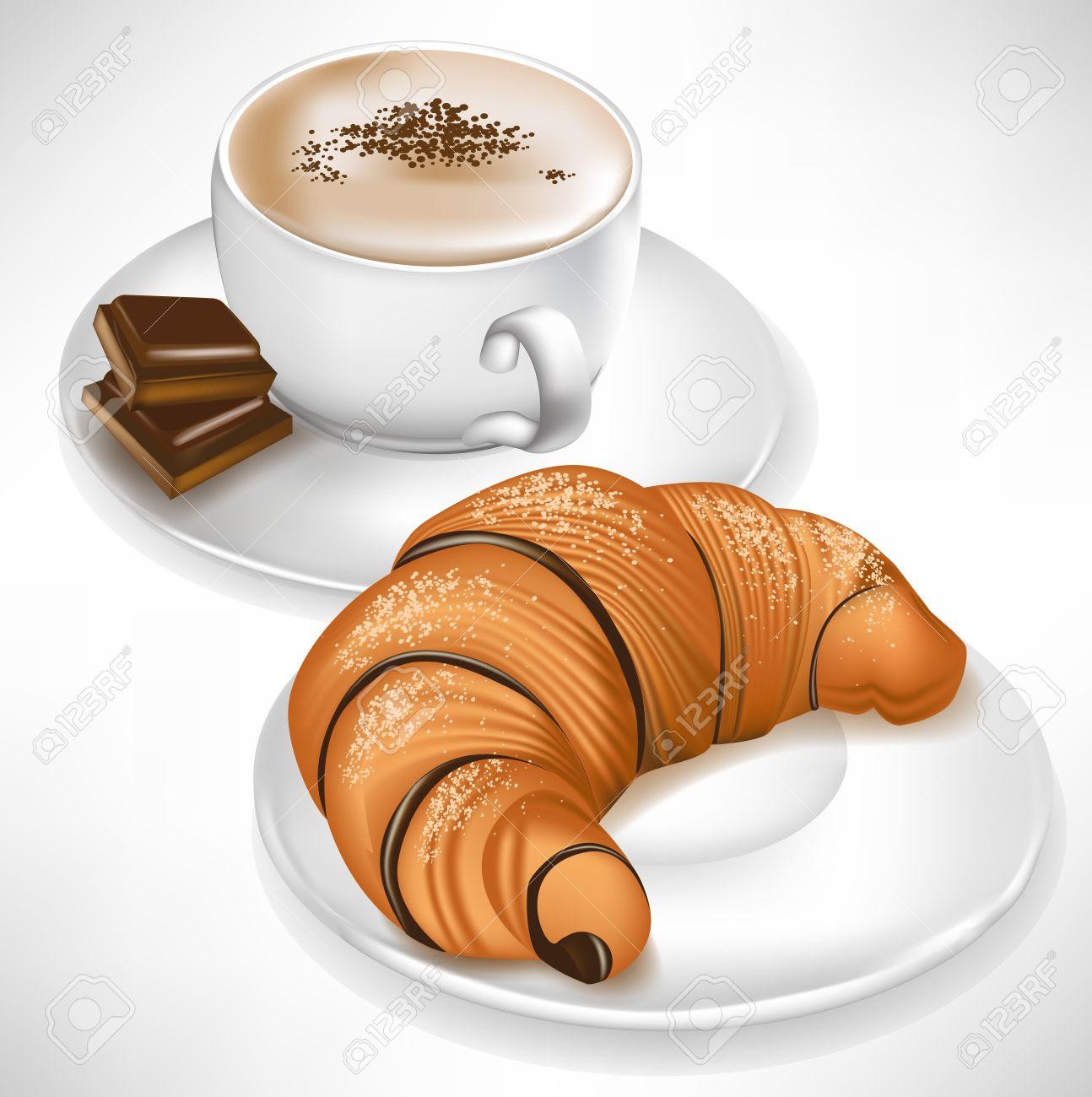 Croissant Auf Teller Und Tasse Kaffee Mit Schokostückchen Lizenzfrei ...