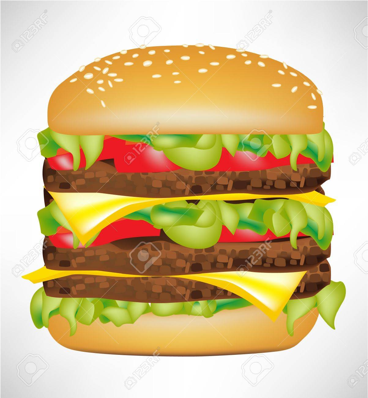 big delicious burger isolated on white Stock Vector - 10886897