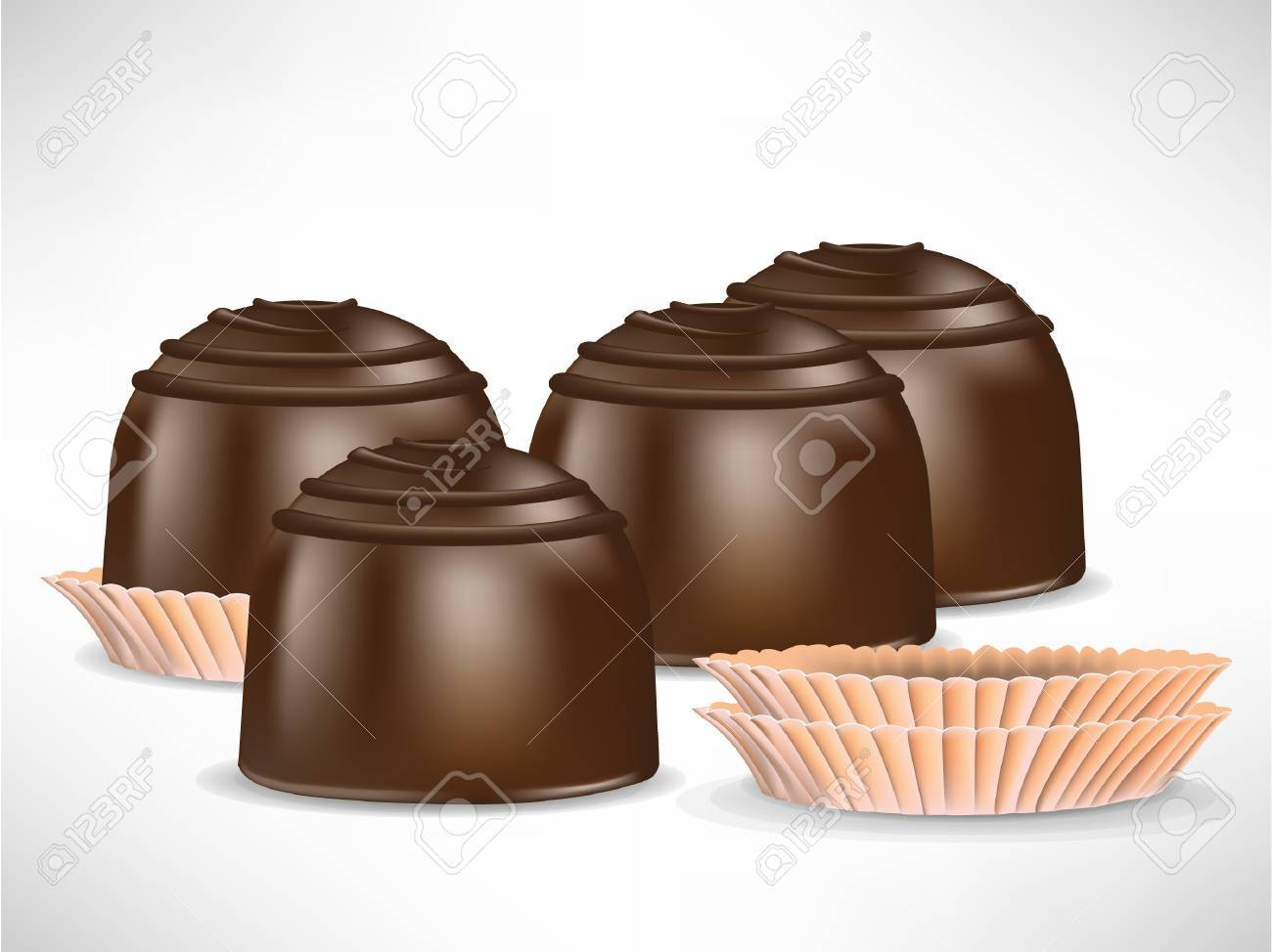 bunch of chocolate candy pieces isolated on white Stock Vector - 10886869