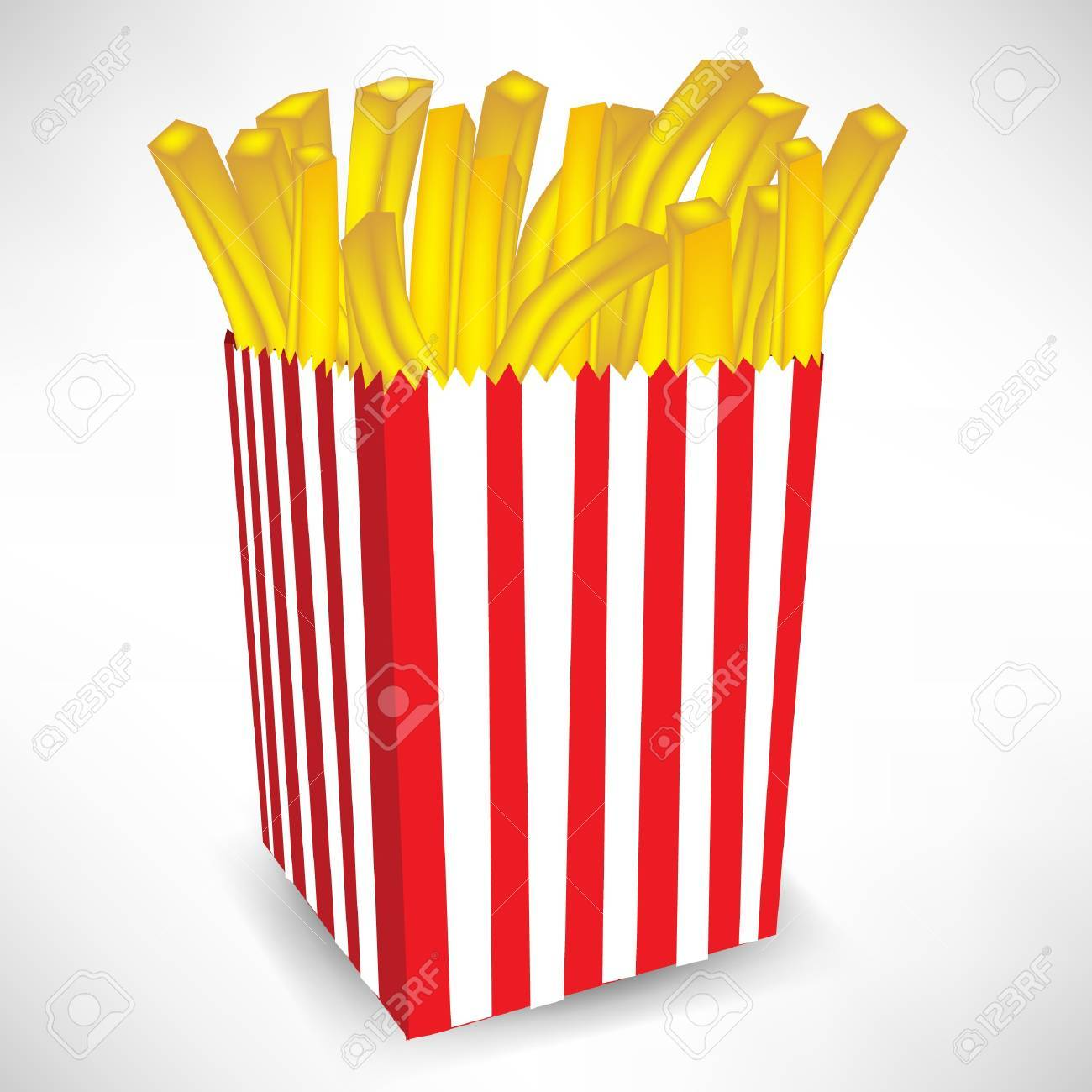 fast food french fries big portion isolated on white Stock Vector - 10887001