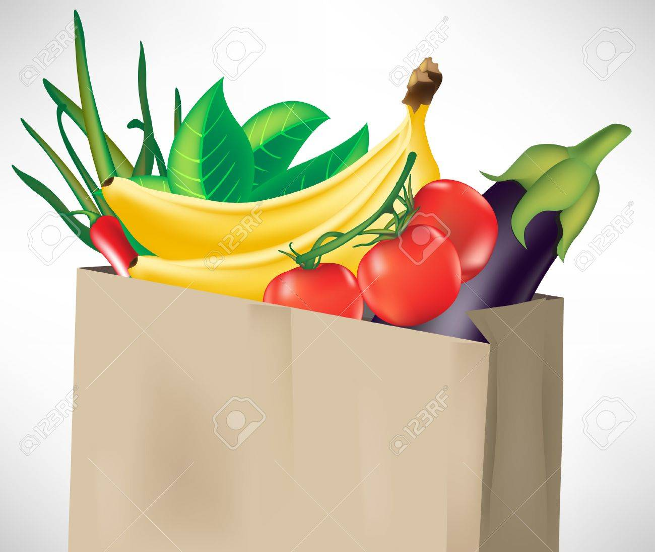 Grocery Bag With Fruits And Vegetables Isolated Royalty Free ...