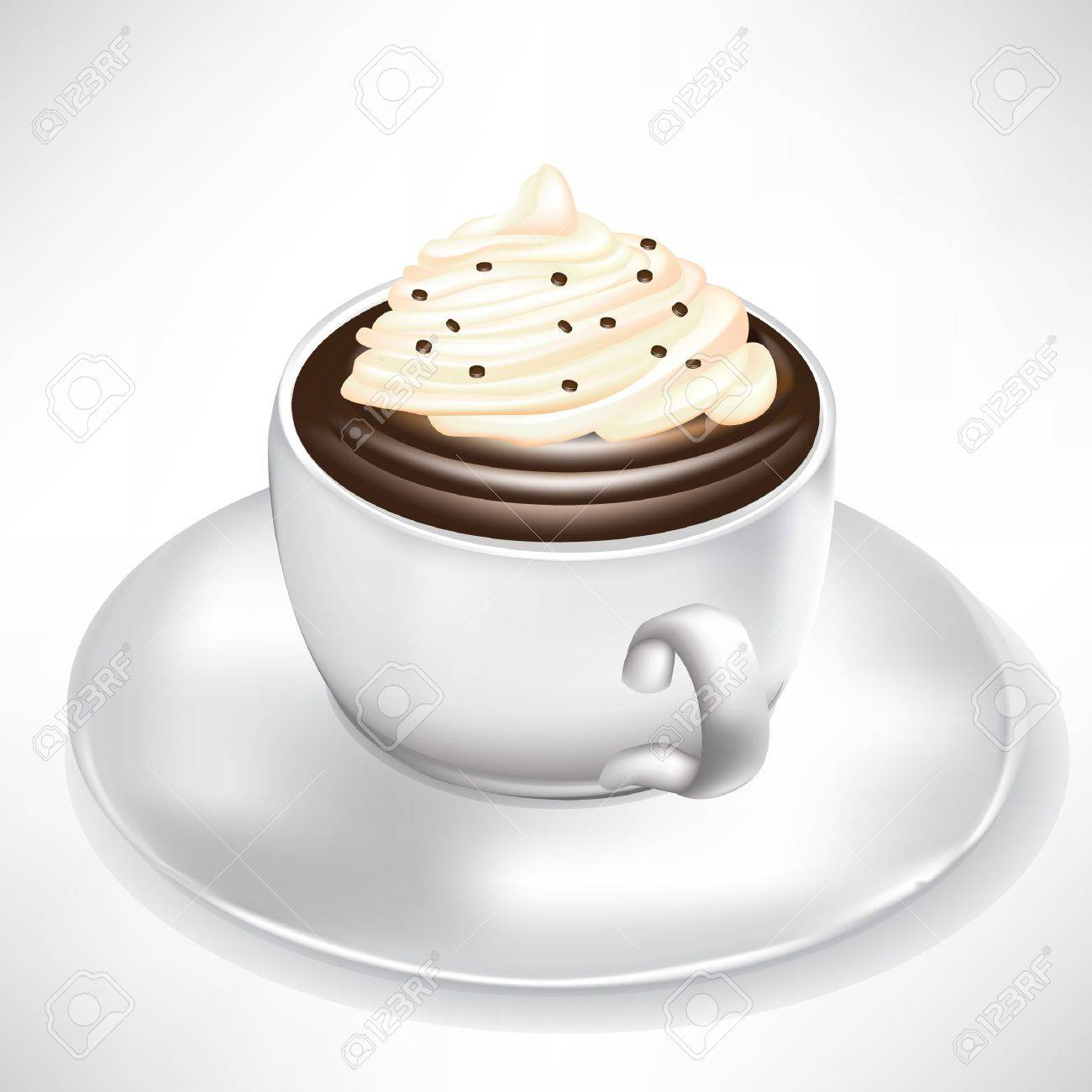 Cocoa Hot Chocolate Cup With Whipped Cream Isolated Ilration