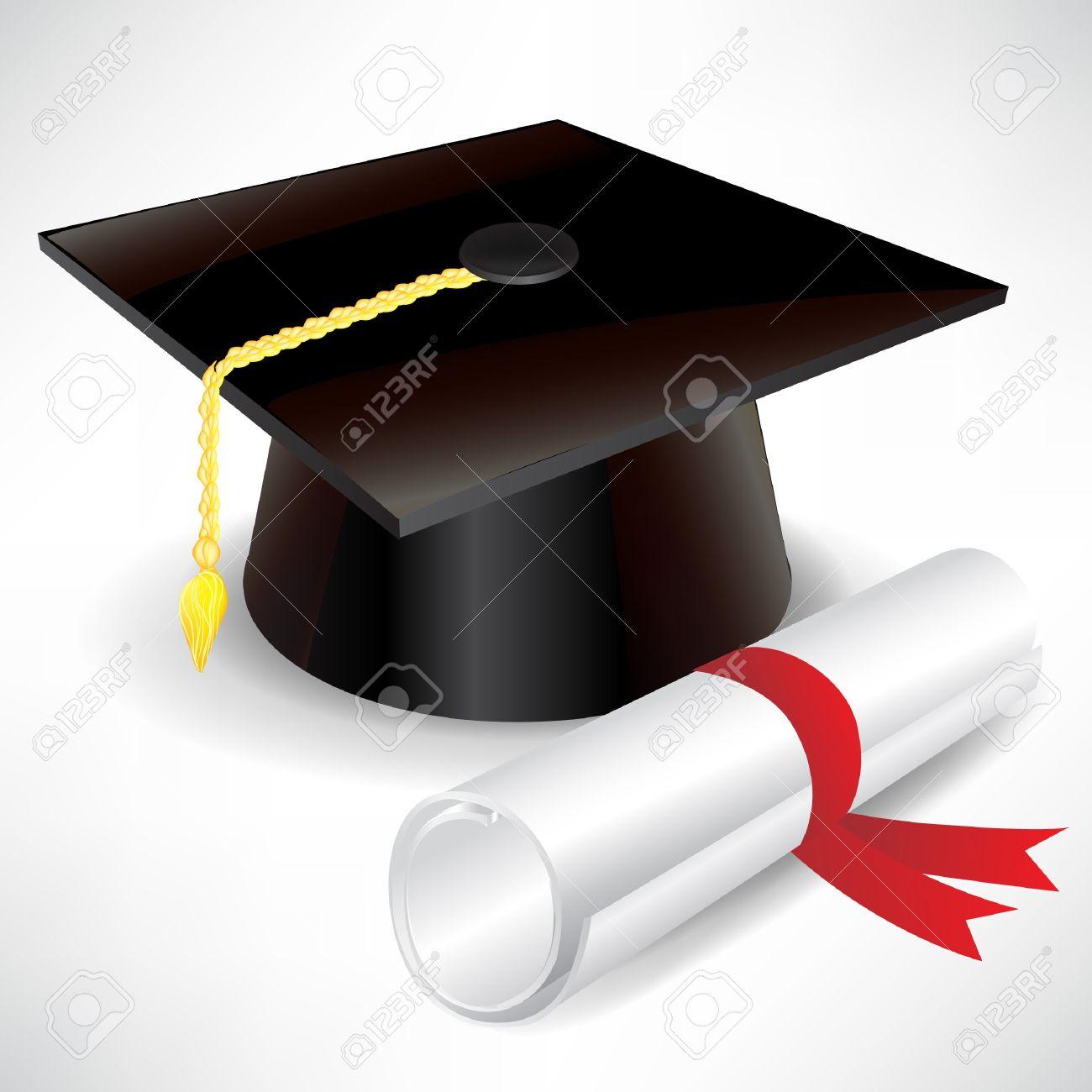 Foto de archivo , gorro de graduación y diploma aislados en blanco
