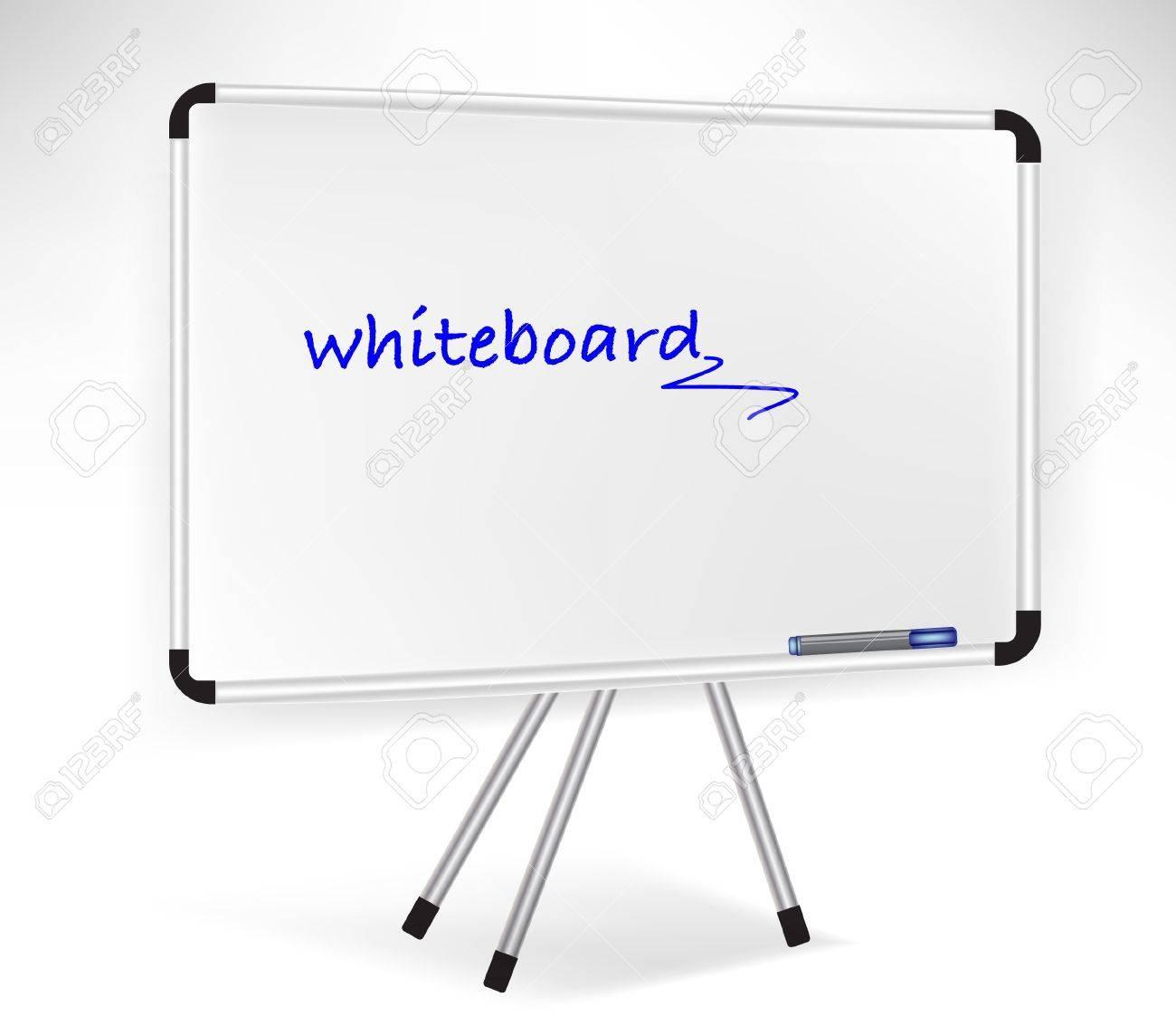 single presentation whiteboard isolated on white royalty free