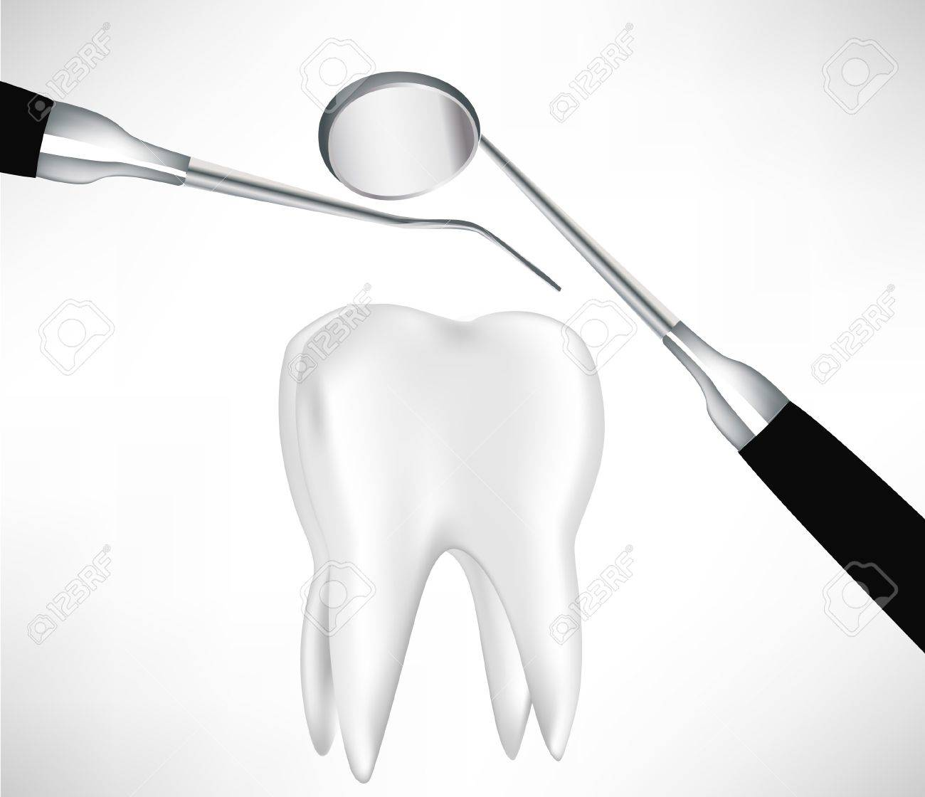 tooth examined by dental instruments isolated on white Stock Vector - 10884723