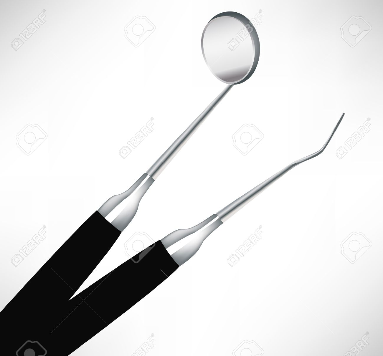 close view of two dental instruments isolated on white Stock Vector - 10884708