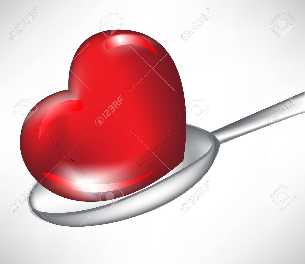 heart in spoon isolated on white Stock Vector - 10886528