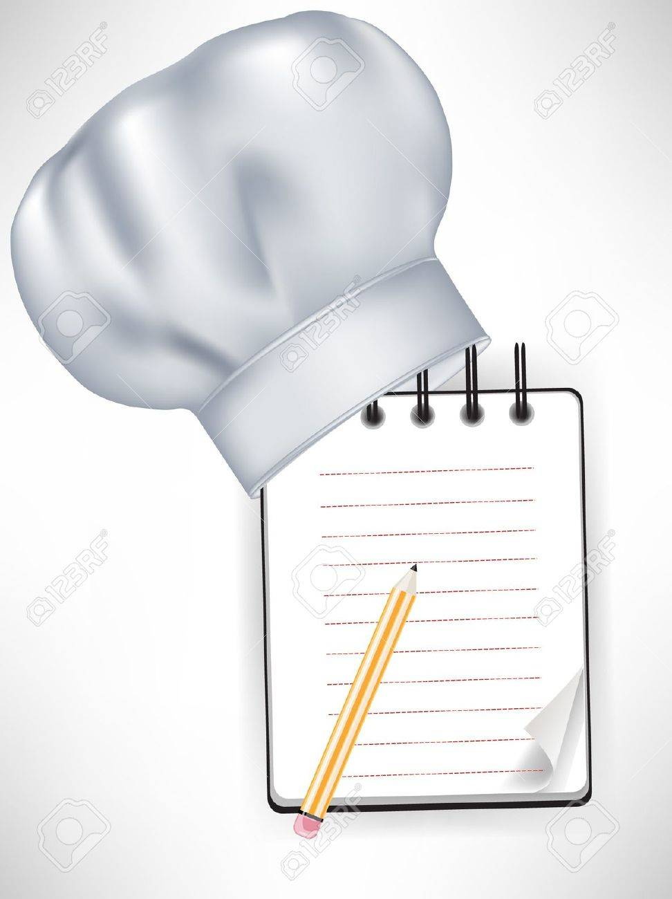 chef hat with recipe notebook and pencil isolated Stock Vector - 10886729