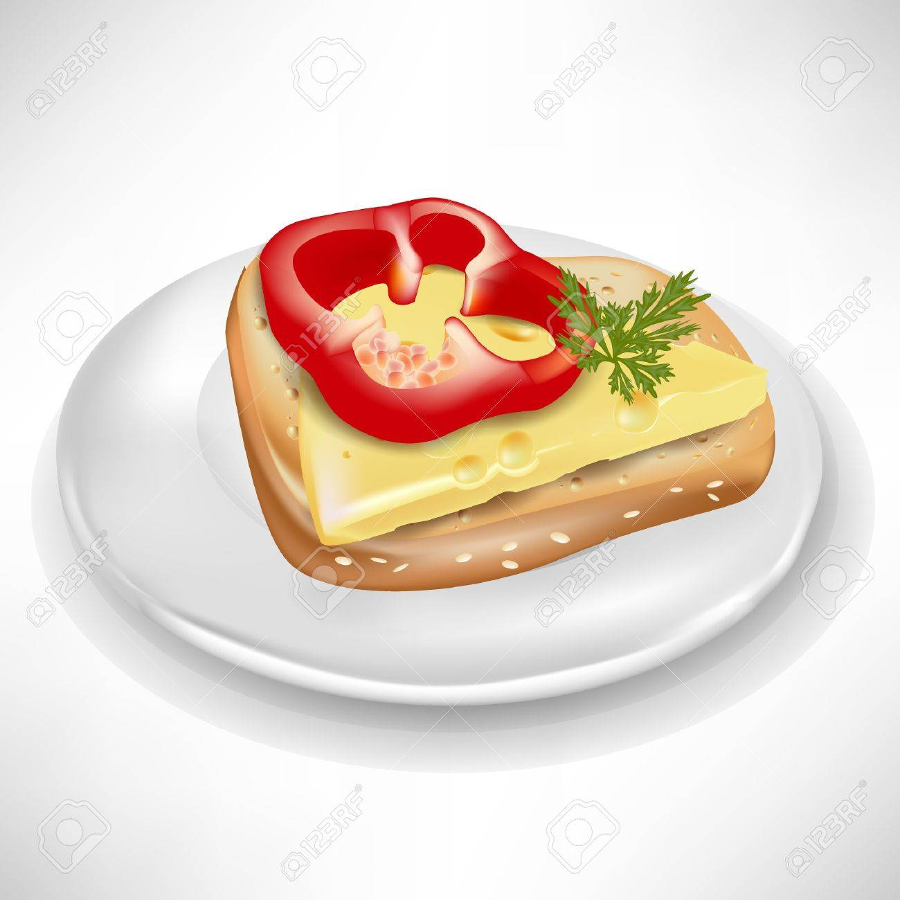 sandwich with pepper and cheese on plate isolated Stock Vector - 10888464