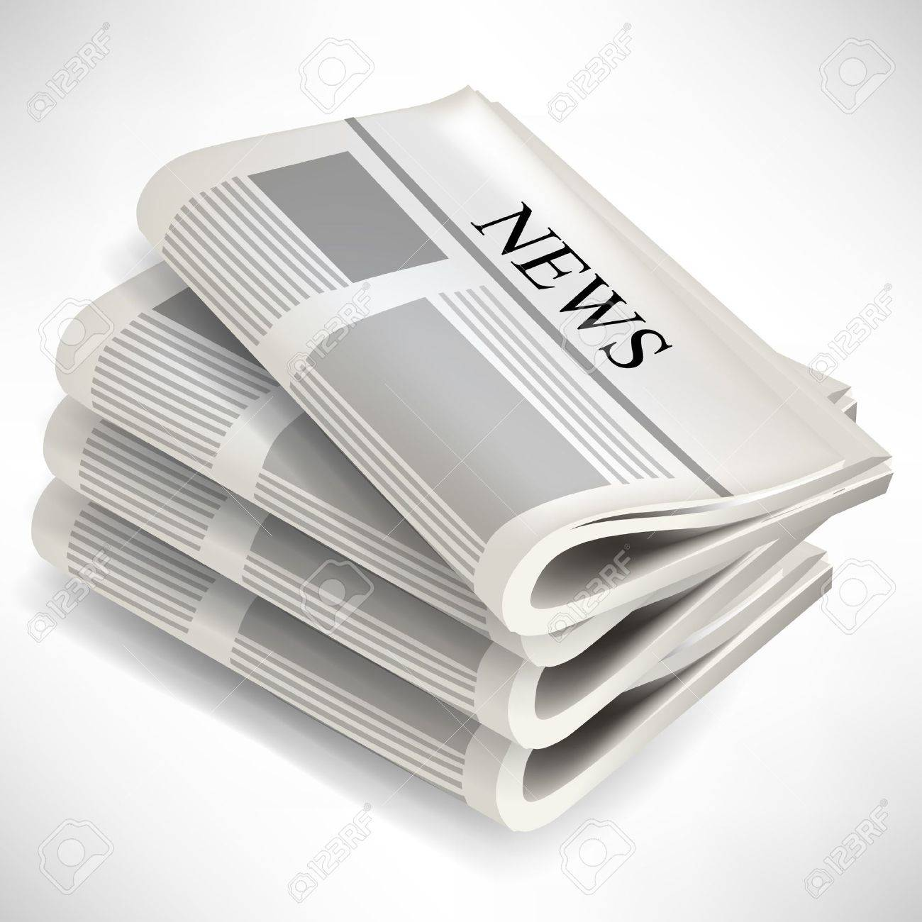 four newspaper pile isolated on white background royalty free
