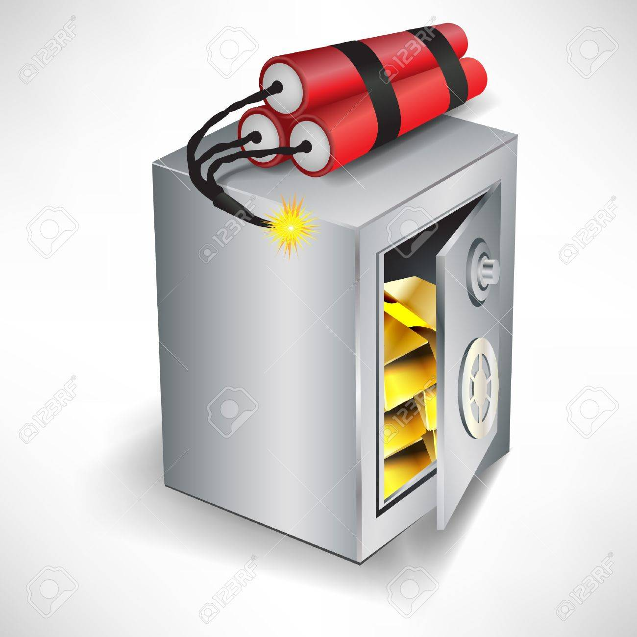 safe with dynamite robbery concept isolated on white Stock Vector - 10888354