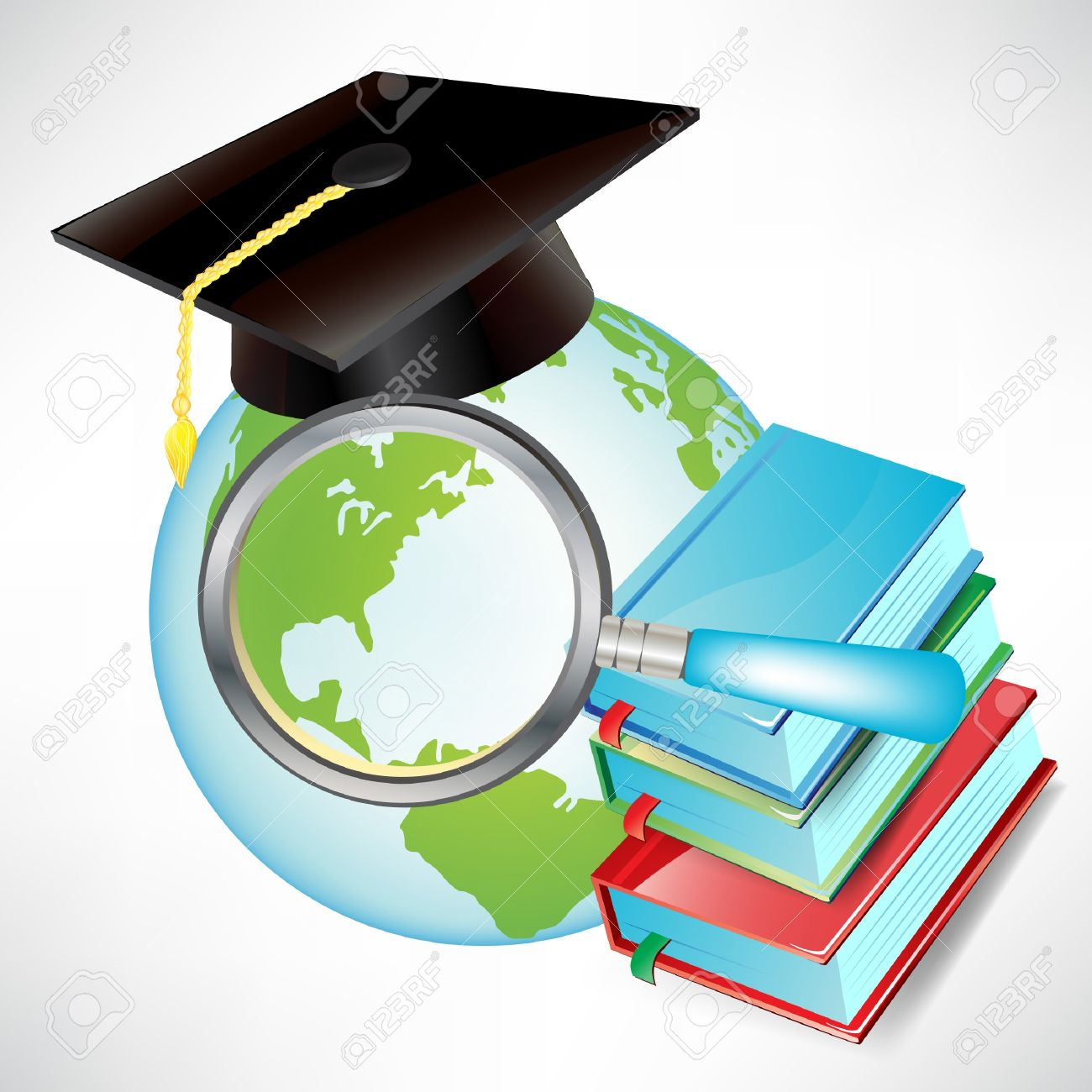 earth globe with graduation cap, books and magnifying glass isolated Stock Vector - 10888425