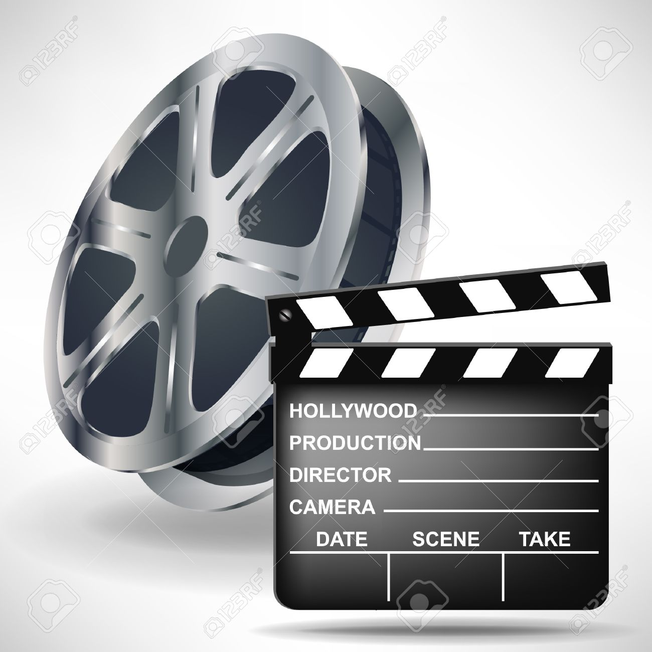 movie clapper and film reel isolated on white Stock Vector - 10888112