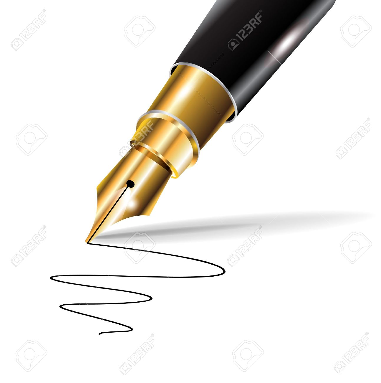 fountain luxury pen with written trace on white Stock Vector - 10888070